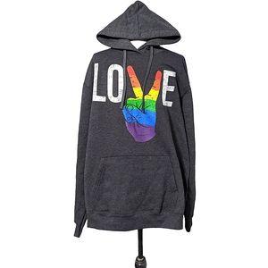 Peace Love Pride Unisex XLarge hoodie